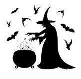 Cartel del feliz Halloween con una silueta de la bruja Foto de archivo