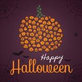 Cartel del feliz Halloween, plantilla de la tarjeta de felicitación Forma de la calabaza integrada por siluetas de la calabaza co stock de ilustración
