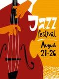 Cartel del festival de jazz con el músico del bajo doble Foto de archivo libre de regalías