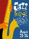 Cartel del festival de jazz con el músico del saxofón Imagen de archivo