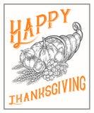Cartel del festival de la cornucopia del otoño de la acción de gracias, bandera Grabado monocromático del vintage Fotografía de archivo libre de regalías