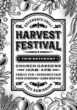 Cartel del festival de la cosecha del vintage blanco y negro stock de ilustración