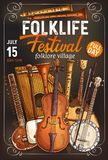 Cartel del festival de la música tradicional con el instrumento musical libre illustration