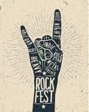 Cartel del festival de la roca Muestra de la mano del rock-and-roll imágenes de archivo libres de regalías