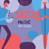 Cartel del festival de música de jazz en diseño plano stock de ilustración