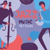 Cartel del festival de música de jazz en diseño plano libre illustration
