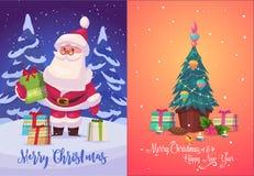 Cartel del fondo de la tarjeta de felicitación de la Navidad Ilustración del vector stock de ilustración