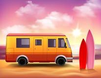 Cartel del fondo de Van que practica surf 3D Colorful Imagen de archivo libre de regalías