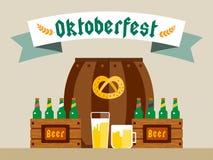 Cartel del fondo del vector de la celebración de Oktoberfest Foto de archivo