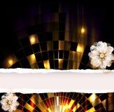 Cartel del globo del partido con la flor Imagenes de archivo
