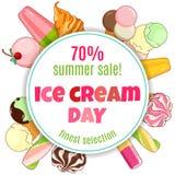 Cartel del helado Helado brillantemente coloreado, conos de la galleta, polos en un fondo hermoso Ilustración de la historieta ilustración del vector