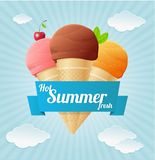 Cartel del helado del vintage del verano del vector Fotografía de archivo