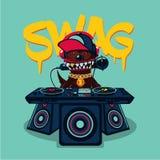 Cartel del hip-hop con el perro Música rap, cultura del swag Estilo urbano de la calle libre illustration