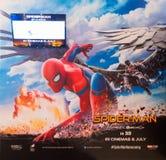 Cartel del hombre araña que viene pronto en cine malasio Fotografía de archivo