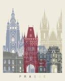 Cartel del horizonte de Praga stock de ilustración
