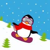 Cartel del invierno con el pingüino libre illustration