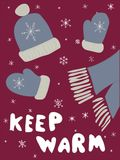 Cartel del invierno Viste la postal Letras de la estación Fotos de archivo libres de regalías