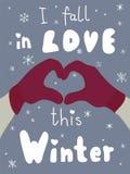 Cartel del invierno Viste la postal Letras de la estación Foto de archivo libre de regalías