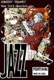 Cartel del jazz con el trompetista Fotografía de archivo libre de regalías