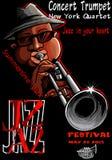 Cartel del jazz con el trompetista Foto de archivo