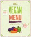 Cartel del menú del vegano del vintage. stock de ilustración
