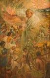 Cartel del monumento de Mahatma Gandhi Fotografía de archivo