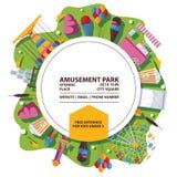 Cartel del parque de atracciones del vector Composición brillante con los objetos y el círculo planos libre illustration
