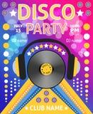 Cartel del partido de disco Fotografía de archivo