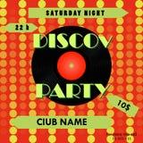 Cartel del partido de disco Diseño del cartel del disco Expediente de vinilo Ilustración del vector Fotografía de archivo