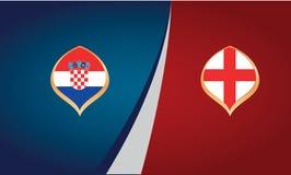 Cartel del partido de fútbol entre los equipos nacionales de Croacia e Inglaterra ilustración del vector