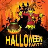 Cartel del partido de Halloween con el espantapájaros Imágenes de archivo libres de regalías