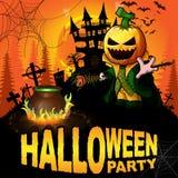 Cartel del partido de Halloween con el personaje de dibujos animados de la calabaza Imagen de archivo