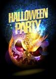 Cartel del partido de Halloween con la bola de discoteca Fotos de archivo