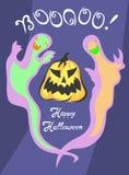 Cartel del partido de Halloween con los fantasmas y la calabaza Ilustración Imagen de archivo libre de regalías