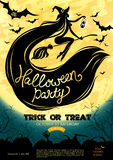 Cartel del partido de Halloween Ilustración del vector Foto de archivo libre de regalías
