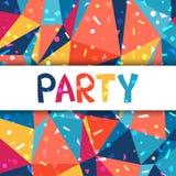 Cartel del partido de la celebración con confeti brillante Fotografía de archivo libre de regalías