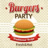 Cartel del partido de la hamburguesa Imágenes de archivo libres de regalías