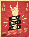 Cartel del partido de la noche de la roca El vintage diseñó el ejemplo del vector Foto de archivo libre de regalías