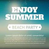 Cartel del partido de la playa del verano con un mensaje Fotografía de archivo libre de regalías