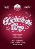Cartel del partido del día de tarjetas del día de San Valentín Fondo rojo oscuro stock de ilustración