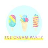 Cartel del partido del helado Foto de archivo