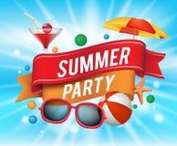 Cartel del partido del verano con los elementos coloridos Foto de archivo libre de regalías