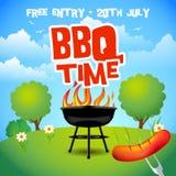 Cartel del partido del verano de la barbacoa Ejemplo de la parrilla de la barbacoa Invitación del partido de la barbacoa Ejemplo  foto de archivo