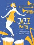 Cartel del partido del jazz de la danza del vector Fotografía de archivo libre de regalías