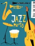 Cartel del partido del jazz del vector Con los instrumentos musicales del jazz Imagen de archivo libre de regalías