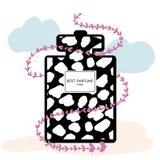 Cartel del perfume con la flor Imagenes de archivo