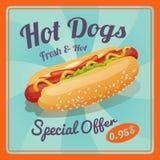 Cartel del perrito caliente Imagenes de archivo
