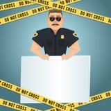 Cartel del policía con la cinta amarilla Fotografía de archivo