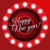 Cartel del ` s del Año Nuevo en estilo retro Fondo de pantalla de la conclusión de la película, ejemplo Bandera del Año Nuevo con Fotografía de archivo