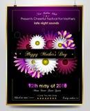 Cartel del saludo del día de madres con las flores elegantes amarillas stock de ilustración